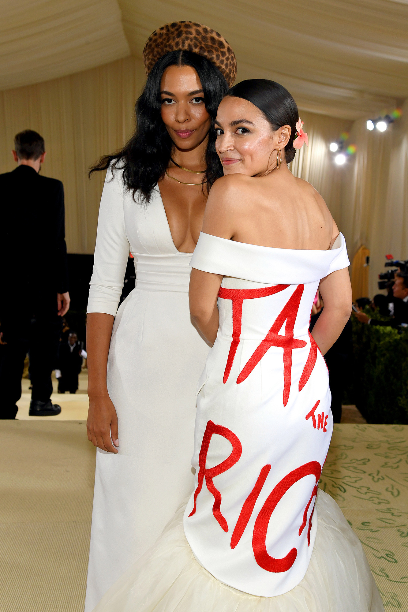 """Alexandria Ocasio-Cortez attended the Met Gala wearing a Couture """"Tax the Rich"""" dress."""