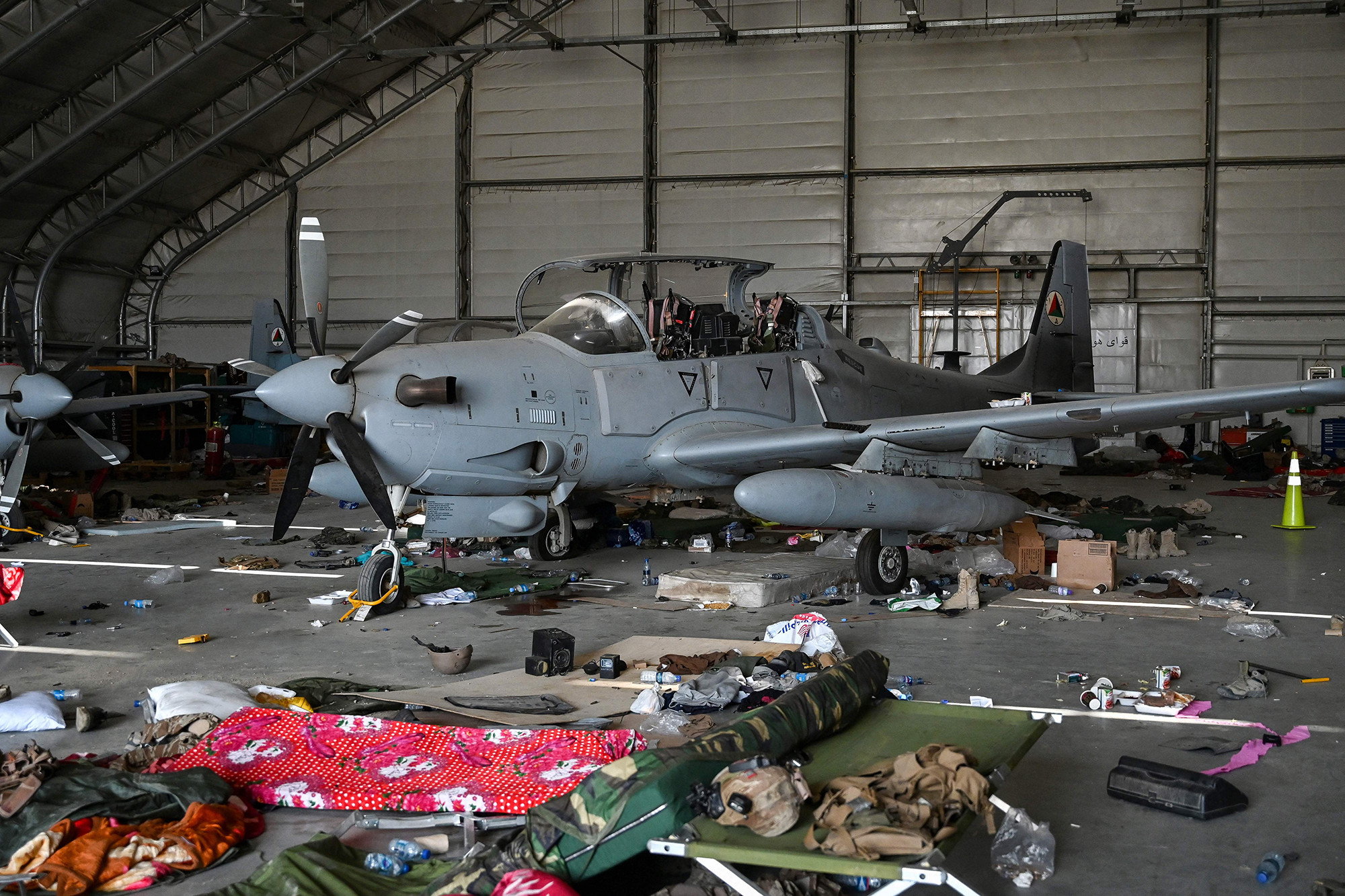 An Afghan Air Force A-29 attack aircraft is pictured inside a hangar