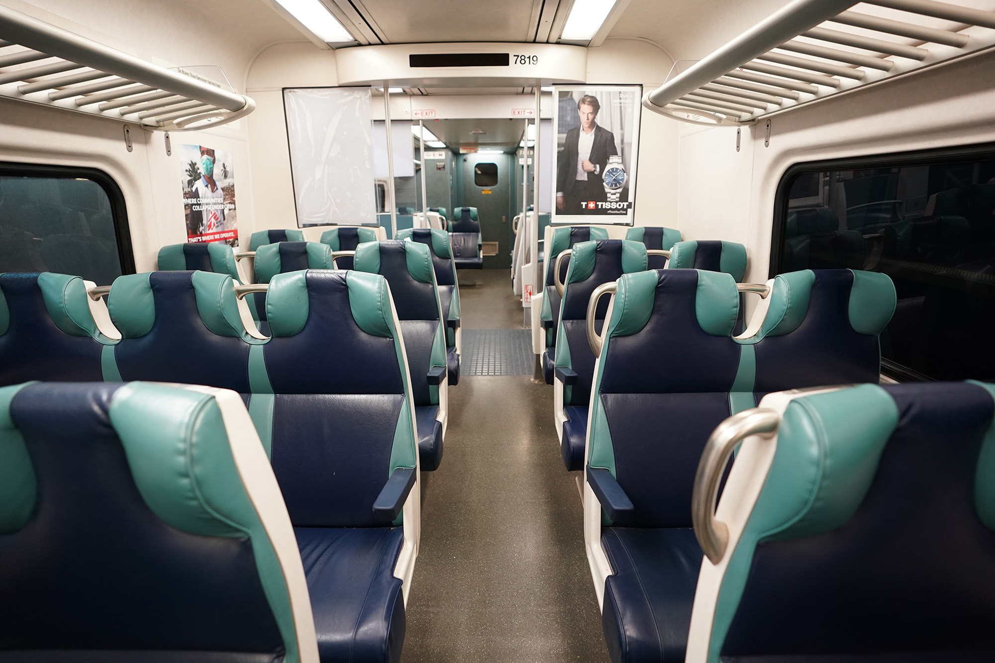 A general view of the interior of a LIRR commuter train as seen at Penn Station in New York, NY on August 6, 2020.