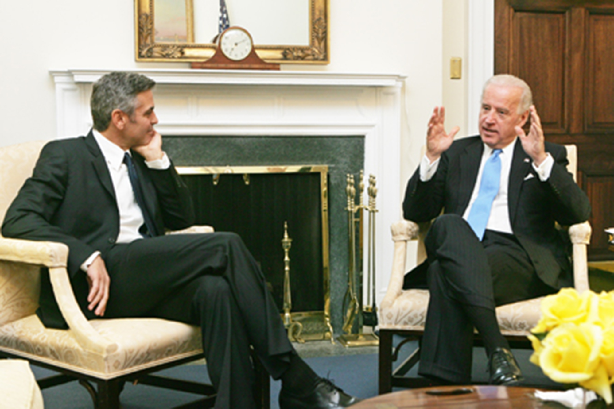 """Clooney defended his """"friend"""" Joe Biden in the BBC interview. The pair are pictured together in 2009"""