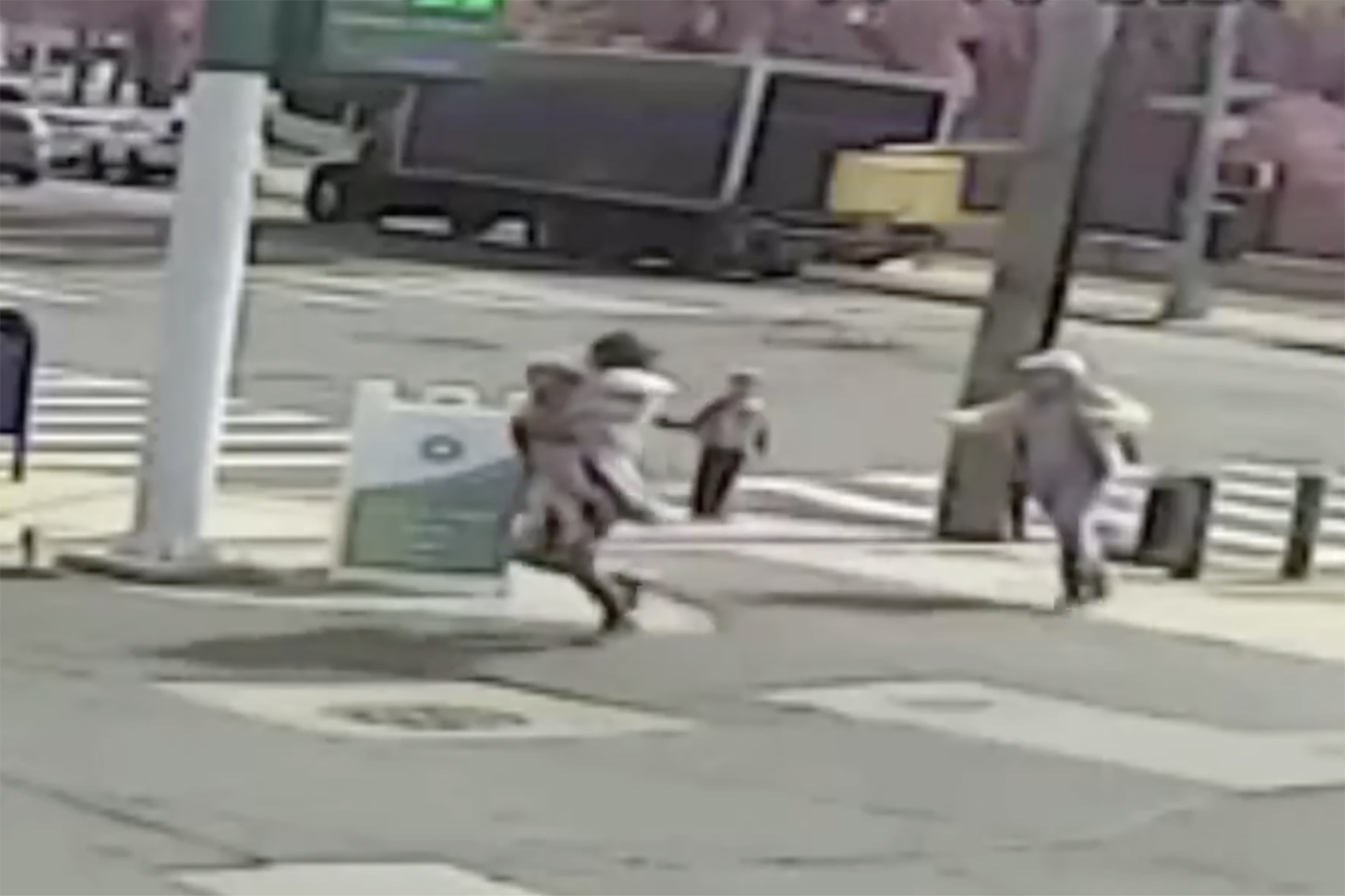 Surveillance video shows the creep throwing a comforter around the tot, picking her up and trying to flee with her down the block.