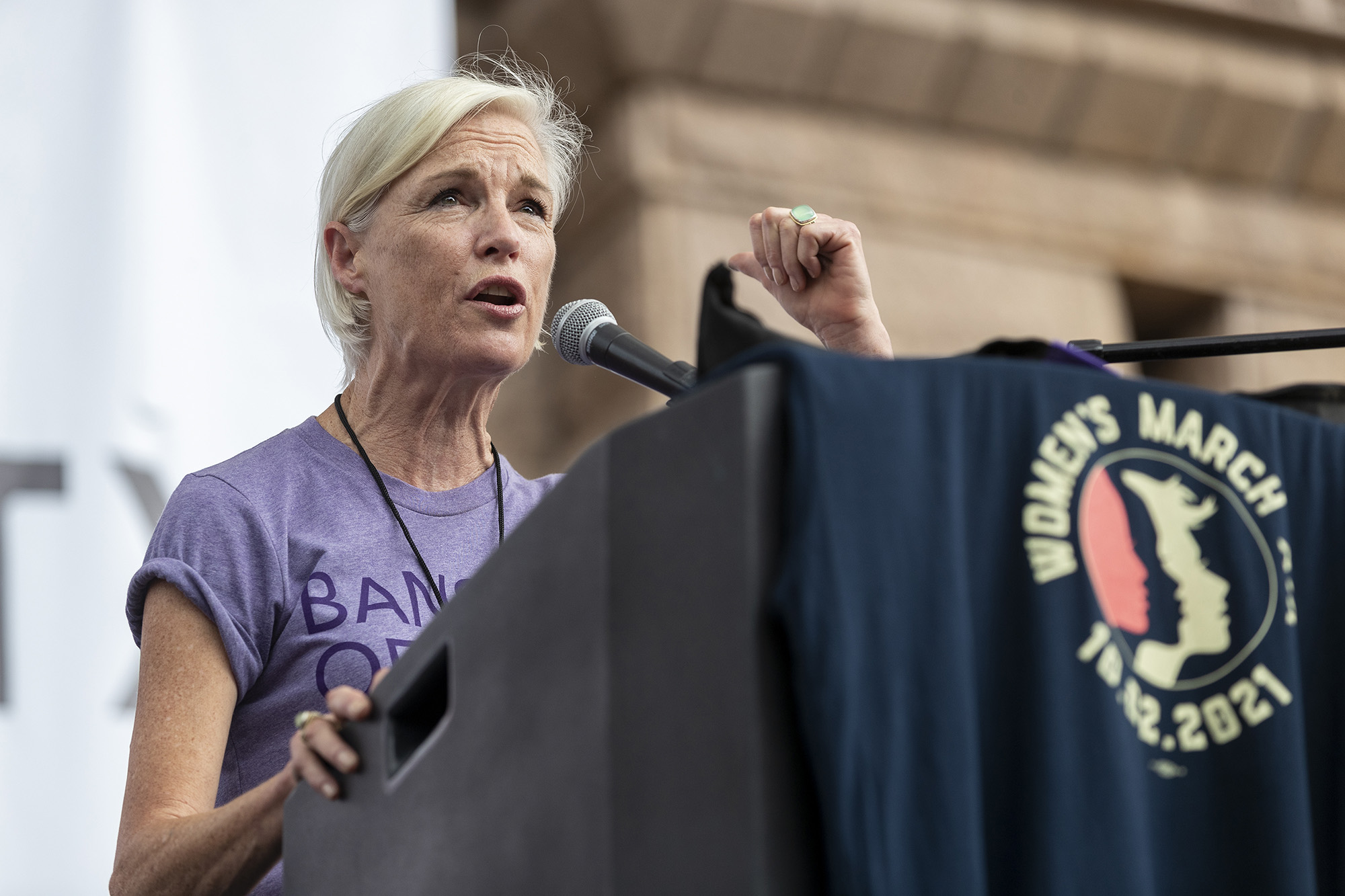 Cecile Richards speaks during the Women's March ATX rally, Saturday, Oct., 2, 2021, at the Texas State Capitol in Austin, Texas.